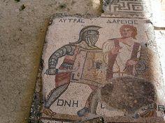 Roman Mosaic. Gladiator's. Kourion, Cyprus.
