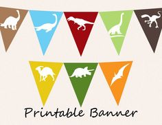 Printable Banner - Dinosaur Pennants DIY Bunting Flags for Party or Room Decor…
