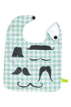 la cerise sur le gateau - bib - Bavoir Moustache Menthe - mint