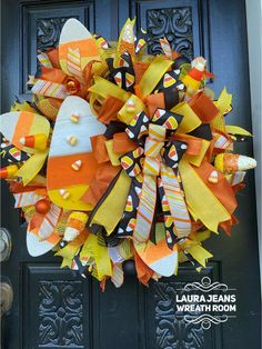 Burlap Flower Wreaths, Deco Mesh Wreaths, Easter Wreaths, Halloween Mesh Wreaths, Holiday Wreaths, Halloween Decorations, Umbrella Wreath, Candy Corn Wreath, How To Make Wreaths