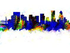 Portland Oregon Skyline Color by Enki Art City Skylines, Portland Oregon, Cities, Wall Art, Painting, Color, Colour, Painting Art, City