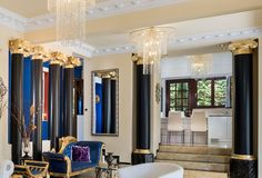 Pandis Palace Luxury seafront holiday Villa in Crete Crete Chania, Greek House, Ancient Greek, Home Interior Design, Travel Inspiration, Curtains, Traditional, Luxury
