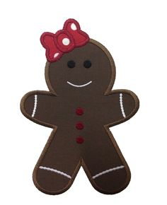 Applique Gingerbread Girl Machine Embroidery Design