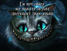 """I'm not crazy, my reality is just different than yours."" (The Cheshire Cat, Lewis Carroll)"