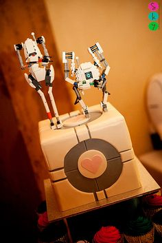 Geek themes collide: LEGO meets a Portal 2 cake | Offbeat Bride