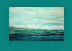 "Ocean Art Seascape Abstract Acrylic Painting on Canvas Titled: Endless Love 30x48x1.5"" by Ora Birenbaum"
