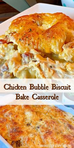 A quick easy main dish casserole is found in this Chicken Bubble Biscuit Bake. Loaded with chicken, bacon, hints of ranch, tender store bought biscuit dough. Topped off with cheese it& a wonderful comfort dish your family will ask for again and again. Biscuits Au Four, Food Dishes, Main Dishes, Easy Casserole Recipes, Easy Main Dish Recipes, Comfort Food Recipes, Casserole Ideas, Dinner Recipes, Korma