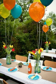 Garden Party Deco - 50 ideas how to make your party more beautiful- Gartenparty Deko – 50 Ideen, wie Sie Ihr Fest schöner machen Practical and Cool Deco Ideas Garden Party Balloons … - Balloon Table Decorations, Garden Party Decorations, Garden Parties, Birthday Party Decorations, Birthday Parties, Birthday Kids, Park Birthday, Outdoor Decorations, Decoration Table