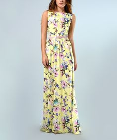 Loving this Yellow & Pink Magnolia Maxi Dress & Belt - Plus Too on #zulily! #zulilyfinds