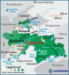 Tajikistan and surrounding area, geo-topo