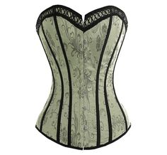 This delicate burlesque outfit features a subtle Victorian green corset with an intricate lattice neck line trim that helps soften the cleavage line. The brocade pattern helps create a beautifully sophisticated 'Victoriana' look. The corset half of this d Top Bustier, Corset Bustier, Strapless Corset, Overbust Corset, Corset Tops, Corset Dresses, Gold Corset, Leather Corset, Corset Sexy
