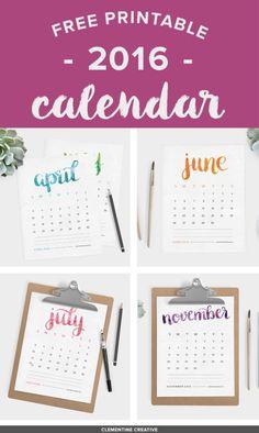 7 Beautiful Freebie Printable Calendars for 2016