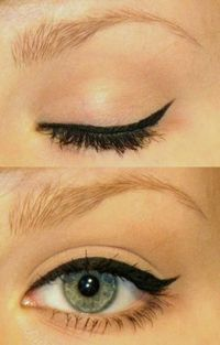 eyeliner, key is the clean under lashes, no liner and the skin colored eyeshadow. Add visine at the last minute for the super white eyed look..