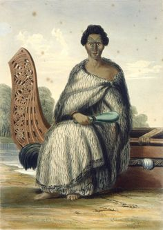 A full length portrait of Hiko in a fringed flax cloak, seated on the stern of a canoe at the water's edge, a mere in his right hand. Ta Moko Tattoo, Ohm Tattoo, Once Were Warriors, Polynesian People, Maori People, Maori Designs, New Zealand Art, Tattoo People, Maori Art