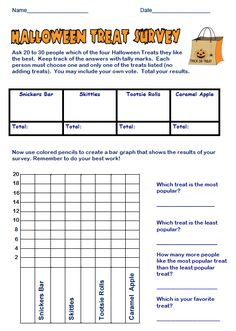 """FREE MATH LESSON - """"FREE Halloween Treats Survey and Bar Graph Activity"""" - Go to The Best of Teacher Entrepreneurs for this and hundreds of free lessons.  #FreeLesson  #Math   #Halloween   http://www.thebestofteacherentrepreneurs.net/2013/10/free-math-lesson-free-halloween-treats.html"""