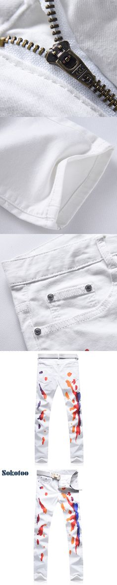 Sokotoo Men's fashion colored painted white print jeans Casual slim stretch denim pants Long trousers