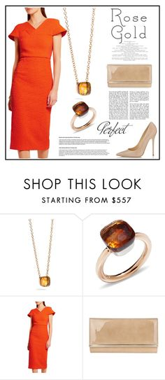 """""""Rose Gold and Madeira Quartz"""" by pumsiks ❤ liked on Polyvore featuring Pomellato, Roland Mouret, Jimmy Choo and Tag"""