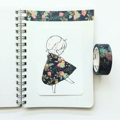 Quand le ruban Washi s'invite dans le dessin, le résultat est étonnant! / When Washi tape is added to drawings, the result is breathtaking! 2 & 4 From : Artist 3 and 5 . Tape Art, Washi Tape, Cool Drawings, Drawing Sketches, Character Art, Character Design, Pretty Art, Art Inspo, Amazing Art