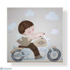 Cuadro infantil personalizado: Niño motorista (ref. 12001-02)