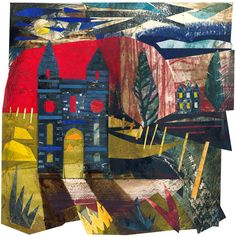 Ed Kluz 'Hundy Mundy, Nenthorn, Scottish Borders' (Mixed media and paper collage) Collage Artists, Collages, English Romantic, Collage Techniques, Year 9, Historical Architecture, Hand Coloring, Printmaking, Fun Stuff
