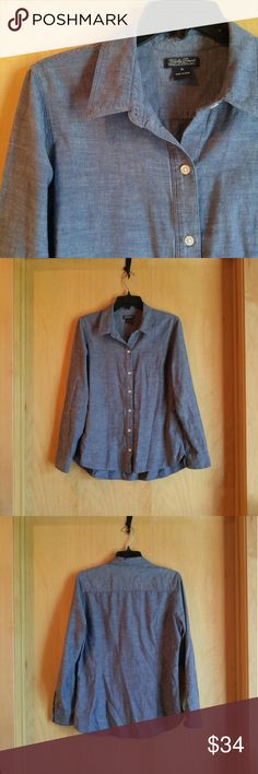 """Lucky Brand Blue Gray Denim Chambray Button Down Lucky Brand button down blouse, size medium, in excellent condition! Great blue gray denim chambray style goes well with everything! Throw over a dress or tuck into black pants. Measurements are 20"""" pit to pit, 24"""" length. No stretch. There is no material tag. Please ask any questions. No trades. Make a reasonable offer. Thanks! Lucky Brand Tops Button Down Shirts"""