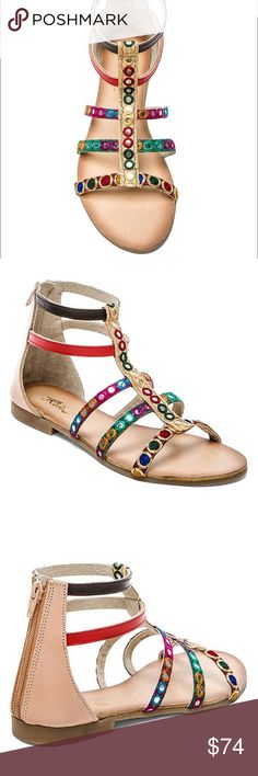 """Embroidered Mirrored Boho Chic Sandals These Sandals offer the perfect mix of clever youthfulness and smart attitude they can style your feet from day to night. Leather and Textile Imported Shaft measures approximately 5"""" from arch Heel measures approximately 0.5"""" Boot opening measures approximately 9"""" around Urban Outfitters Shoes Sandals"""