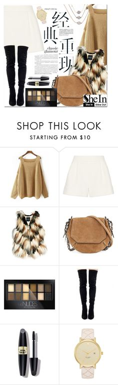 """""""SheIn - Khaki Off the Shoulder Knit Loose Sweater"""" by fattie-zara ❤ liked on Polyvore featuring 3.1 Phillip Lim, GUESS by Marciano, rag & bone, Maybelline, Max Factor, Kate Spade and La Soula"""