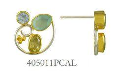 Peruvian Calcite, Baby Blue Topaz and Lemon Quartz earrings  - Eucalyptus Island Collection