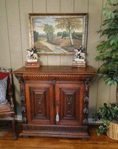 Antique French Buffet Server Sideboard Buffet Carved Hunt Style Drawer + Cabinet #LouisXIIIXIVXVXVI #CraftsmenoftheEra