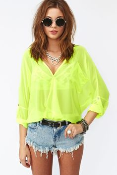 Love this: Neon Wrap Blouse Yellow @Lyst