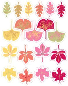 Free to print Leaves. Autumn Crafts, Fall Crafts For Kids, Diy And Crafts, Arts And Crafts, Paper Crafts, Printable Stickers, Planner Stickers, Free Printables, Leaf Printables