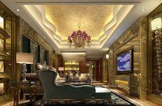 luxury living room   Luxury palace style villa living room interior design rendering   3D ...