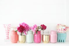 painted jars, cheap & easy, cute for a shower, BBQ or any reason!