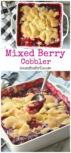 Gear up for a summer get-together with this amazing Mixed Berry Cobbler! Perfect for a hot day, served with vanilla ice cream! Mixed Berry Cobbler, Fruit Cobbler, Triple Berry Cobbler, Best Berry Cobbler Recipe, Mixed Berry Crisp, Mix Berry, Just Desserts, Delicious Desserts, Dessert Recipes