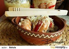 Utopenci se zelím recept - TopRecepty.cz Potato Salad, Dairy, Potatoes, Cheese, Meat, Chicken, Ethnic Recipes, Food, Author