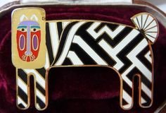 Laurel Burch ZZZebra pin brooch | lion zebra fantasy cloisonne art jewelry | designer signed vintage | retired discontinued jewelry line by cherrylippedroses on Etsy