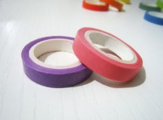 2 Washi Tape  Solid Pink and Purple  Set of 2 by pinkdotsetc