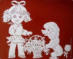 Картина панно рисунок День рождения Вырезание Корзина цветов Бумага фото 4