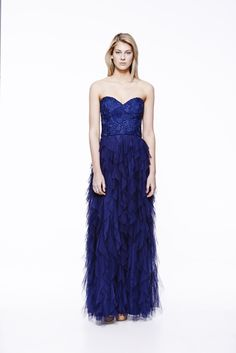 Ask Lily Lace Long in Navy #eileenkirby #asklily #gowns #eveningdress #eveningwear #prom #lace #ruffles #strapless