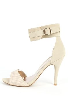Qupid Policy-30 Ankle Cuff Snake Heels STONE