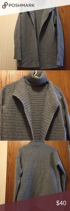"""Modern Soul 2 Piece Sweater Set Gray. Excellent condition. Ribbed knit sleeveless turtleneck top. 13.5"""" from armpit to armpit. 18.5"""" long from armpit. Oversized sweater. 50% wool, 30% rayon, 12% nylon, 8% angora rabbit hair. Not from a smoke free house. Modern Soul Sweaters Cowl & Turtlenecks"""