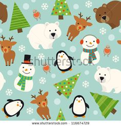 stock vector : Christmas animal seamless pattern