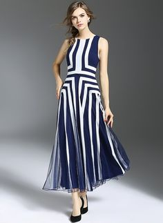 Polyester Geometric Sleeveless Maxi Elegant Dresses (1020999) @ floryday.com