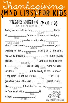 Thanksgiving Mad Libs Printable - My Sister's Suitcase - Packed with Creativity