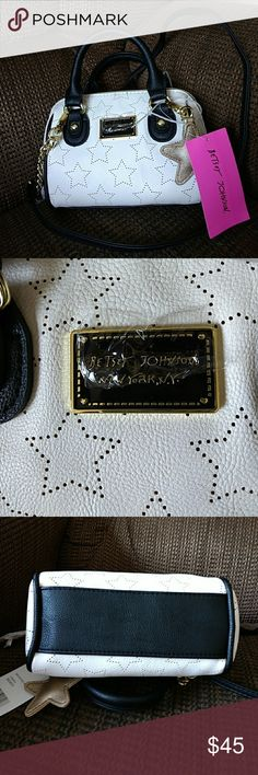 Betsey Johnson Crossbody Bag Bone and black colored star pattern purse. Betsey Johnson Bags