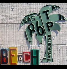 Palm Tree on the Beach - Recycled Vintage License Plate Art - Salvaged Wood -