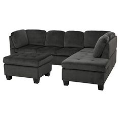 Canterbury 3-piece Fabric Sectional Sofa Set - Charcoal, Christopher Knight Home : Target