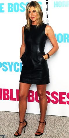 Jennifer Aniston  WHAT SHE WORE  Aniston promoted Horrible Bosses in London working a leather Celine minidress and Gucci heels.