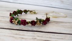 Hand Crafted Burgundy and Gold Flower Crown - Flower Halo - Christmas Flower Crown - Autumn Flower Crown - Winter Rose - Ribbon Tie Back