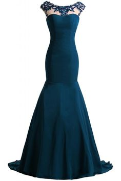 Angel Bride Mermaid Open Back Long Chiffon Evening Dresses with Train- US Size 2